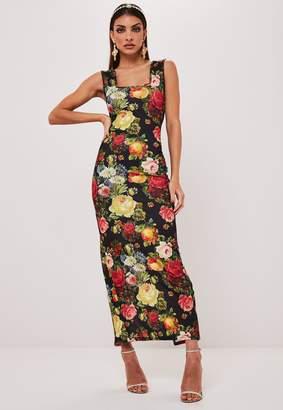 Missguided Black Floral Print Square Neck Maxi Dress