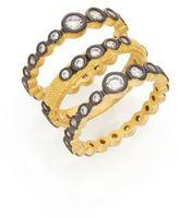 Freida Rothman Triple Crystal Bezel Stack Ring