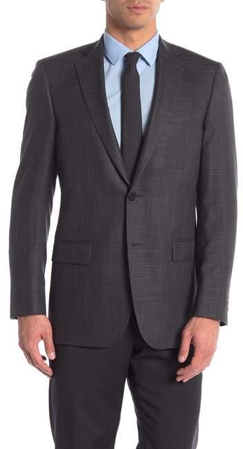Hart Schaffner Marx Dark Grey Sharkskin Two Button Notch Lapel Sport Coat