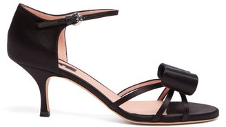 Rochas Bow-trim Satin Sandals - Womens - Black