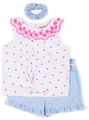 Little Lass Baby & Toddler Girl Sleeveless Tie-front Top & Shorts, 2pc Outfit Set