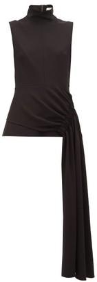 Tibi Draped-panel Crepe Top - Womens - Black