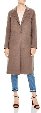 Sandro Rocher Striped Single-Button Coat