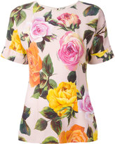 Dolce & Gabbana rose print T-shirt - women - Viscose - 40