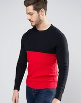 Tommy Hilfiger Crew Knit Jumper Colour Block Knit In Navy