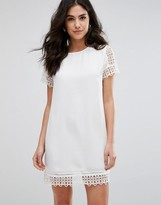 Darling Short Sleeve Dress With Lace Trim