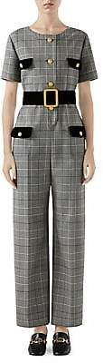 Gucci Women's Short Sleeve Prince Of Wales Check Belted Jumpsuit