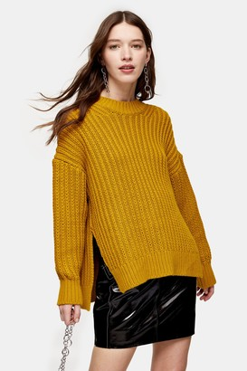 Topshop Womens Chartreuse Split Side Fisherman Knitted Jumper - Chartreuse