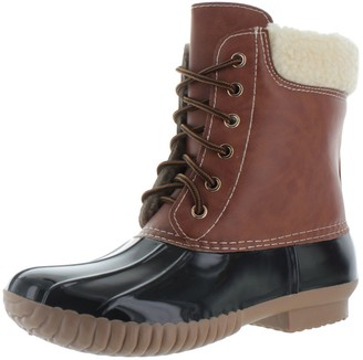 Yoki AXNY Dylan-3 Women's Two Tone Lace Up Ankle Rain Duck Boots Black