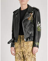 Loewe x William Morris leather biker jacket