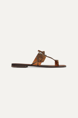 Zimmermann Knotted Snake-effect Leather Sandals