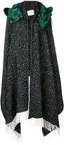 Sacai paisley hooded poncho coat