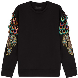 RAGYARD Peacock Feather-appliqued Jersey Sweatshirt