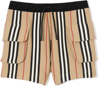 Burberry Ecru Cotton Icon Stripe Shorts