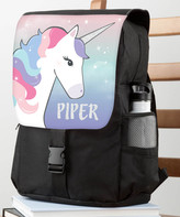 Personalized Planet Backpacks Purple - Black & Lavender Unicorn Personalized Flap Backpack