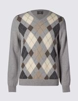 Marks and Spencer Pure Lambswool V-Neck Argyle Jumper
