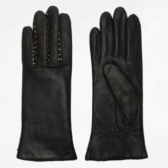Agnelle Ines Studs Black Leather Gloves