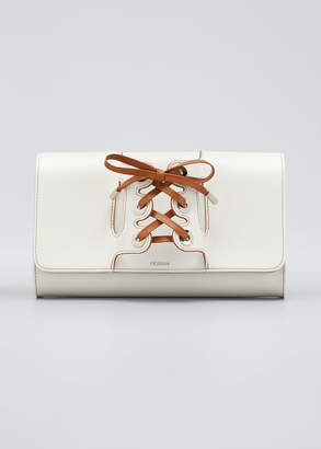 Perrin Paris Lolita Leather Clutch Bag with Lace-Up Glove Handle