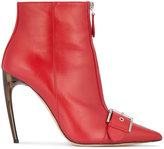 Alexander McQueen 105mm horn heel buckled leather boots
