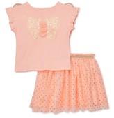 Wonder Nation Baby Toddler Girl Butterfly Wings T-shirt & Tutu Skirt, 2pc Set