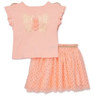 Wonder Nation Baby Girl & Toddler Girl Butterfly Wings T-shirt & Tutu Skirt, 2pc Set (12M-5T)