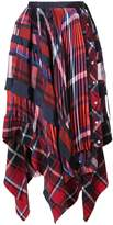 Sacai handkerchief draped tartan skirt