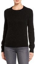 Halogen Beaded Knit Crewneck Sweater