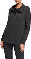 Neiman Marcus Cashmere Embroidered Stripe Zip-Up Jacket