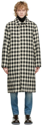 Ami Alexandre Mattiussi Black and White Wool Mac Coat