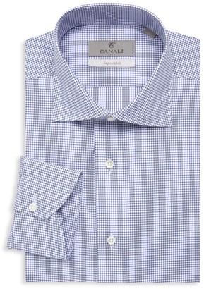 Canali Check Cotton Dress Shirt
