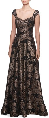 La Femme Metallic Jacquard Gown