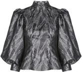 Ganni Metallic Puffed-Sleeves Blouse