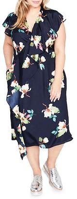 Rachel Roy Plus Floral Wrapped Midi Dress