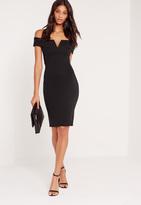 Missguided Petite V Front Bardot Midi Dress Black