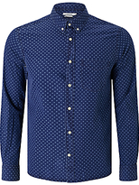 J. Lindeberg Daniel Spot Print Long Sleeve Slim Fit Shirt, Indigo