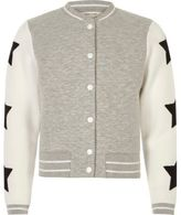 River Island Girls grey quilter star bomber jacket