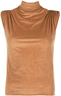 John Elliott Turtleneck Sleeveless Velvet Top