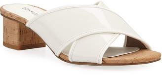 Donald J Pliner Mally Low-Heel Patent Slide Sandals
