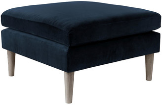 One Kings Lane Madeline Ottoman - Navy Velvet
