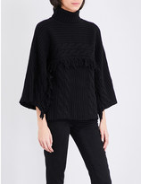 Mo&Co. Fringed turtleneck knitted jumper
