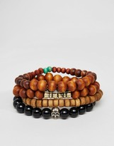 Asos Beaded Bracelet Pack In Brown