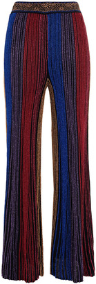 Camilla Crystal-embellished Striped Metallic Ribbed-knit Flared Pants