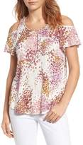 Lucky Brand Cold Shoulder Floral Blouse