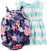 Carter's Baby Girl Striped Dress & Floral Romper Set
