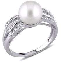 Sonatina Sterling Silver and 9-9.5MM Freshwater Pearl and Diamond Split Shank Ring
