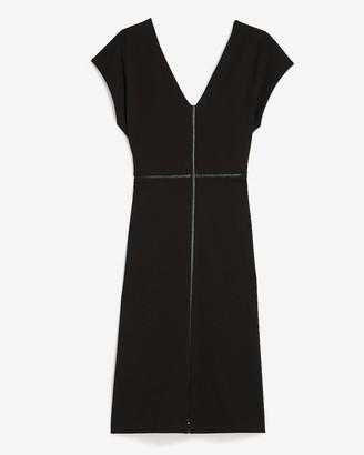 Express Vegan Leather Pieced Sheath Dress