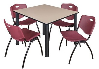 "BEIGE Leiser 5 Piece Square Breakroom Table Set Symple Stuff Size: 30"" H x 29"" W x 29"" D, Base Finish: Black, Top Finish"