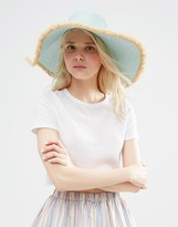 Asos Mint Raw Edge Floppy Straw Hat
