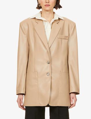Nanushka Evan padded-shoulder vegan-leather blazer
