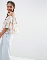 Asos Ruffle Off The Shoulder In Rainbow Stripe